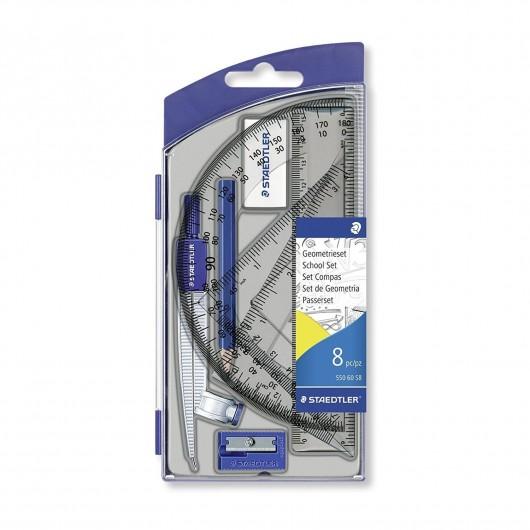 SAEDTLER Set scolaire 1 compas de précision avec attache-compas universelle intégrée + accessoires