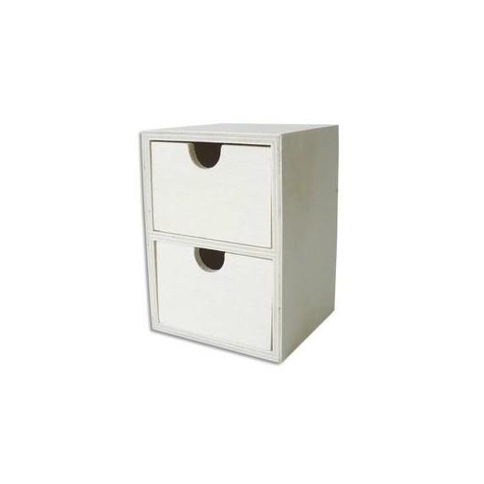 Mini commode en bois avec 2 tiroirs. à décorer. format 110 x 80 x 75 mm
