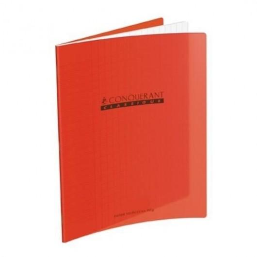CONQUERANTC Cahier piqûre 17x22cm 32 pages 90g séyès grands carreaux. Couverture polypropylène rouge
