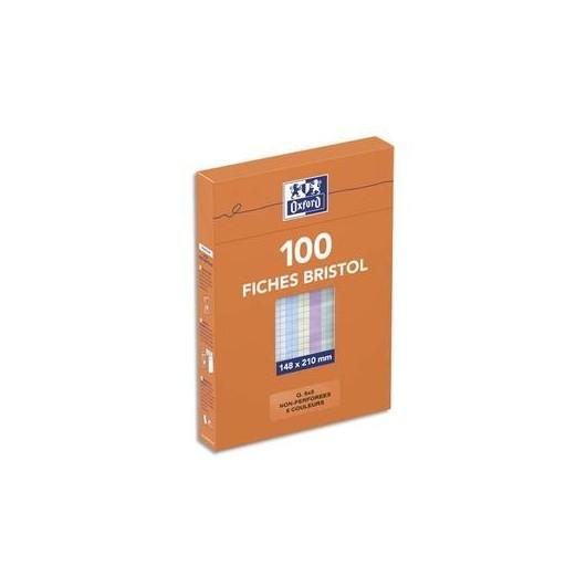 OXFORD Boîte distributrice 100 fiches bristol non perforées 148x210mm (A5) 5x5 assorti