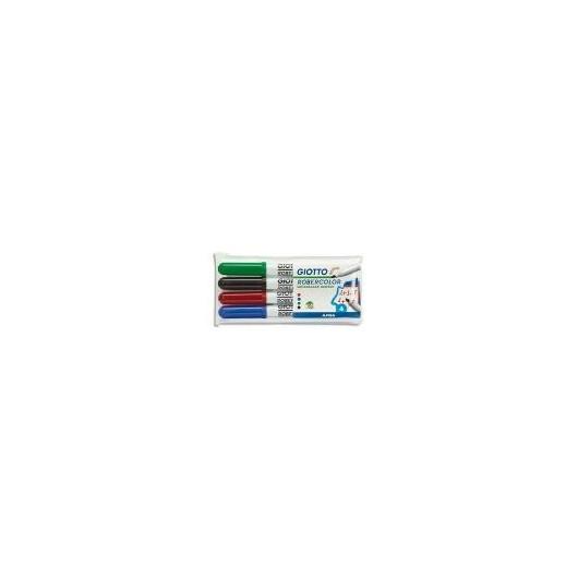 GIOTTO Pochette de 4 feutres effaçable à sec pointe ogive moyenne 4mm bleu, noir, rouge, vert