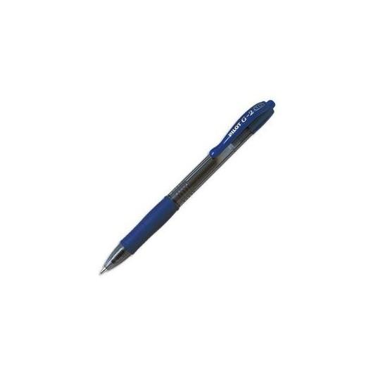 PILOT Stylo à bille pointe moyenne rétractable encre gel bleue corps plastique avec grip caoutchouc G2