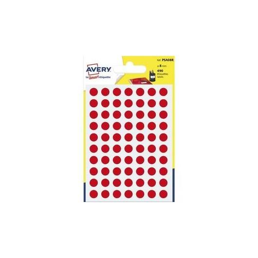 AVERY Sachet de 490 pastilles Ø8 mm. Ecriture manuelle. Coloris rouge.