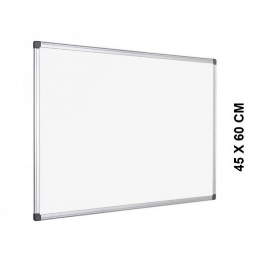 Tableau Blanc émaillé magnétique, cadre aluminium, format : 60 x 45 cm