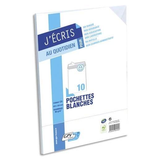 Paquet de 10 pochettes velin blanc fond gris auto-adhésives 90g format C4 229 x 324 mm