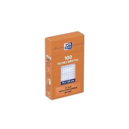 OXFORD Boîte distributrice 100 fiches bristol non perforées 75x125mm 5x5 blanc