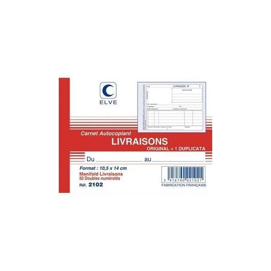 ELVE Manifold autocopiant Livraison format 10,5x14cm, 50 feuillets dupli