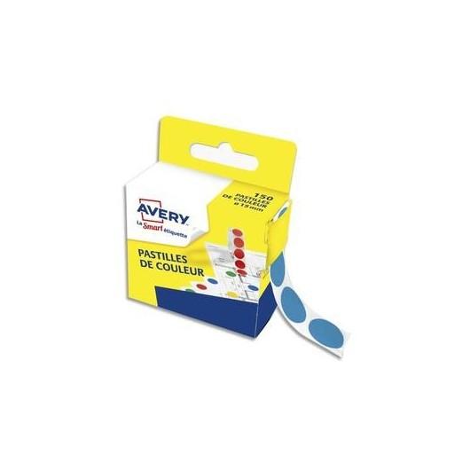 Boîte distributrice de 150 pastilles adhésives Ø15 mm. Coloris bleu.