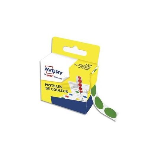 Boîte distributrice de 150 pastilles adhésives Ø15 mm. Coloris vert