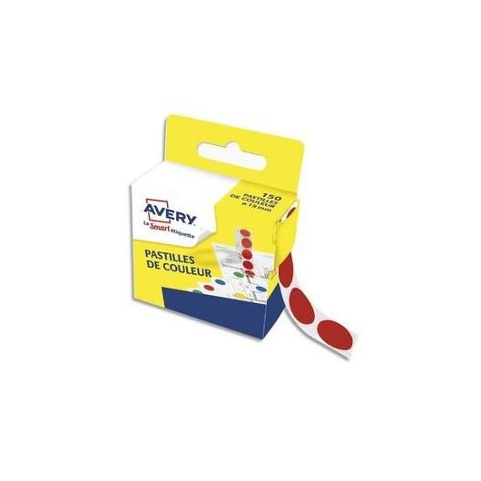 Boîte distributrice de 150 pastilles adhésives Ø15 mm. Coloris rouge