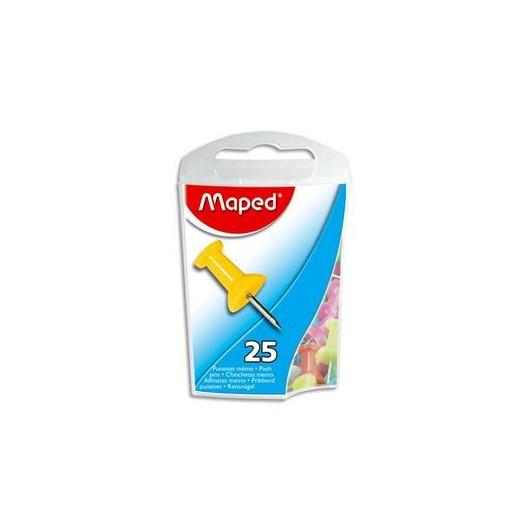 Boite de 25 punaises mémo 10mm coloris assortis