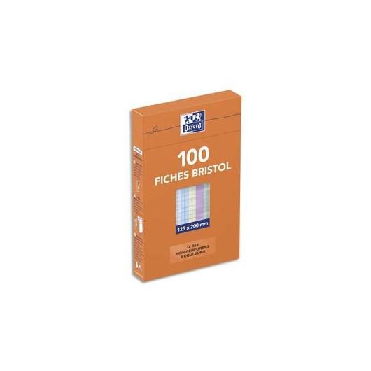 Boîte distributrice 100 fiches bristol non perforées 125x200mm 5x5 assortis