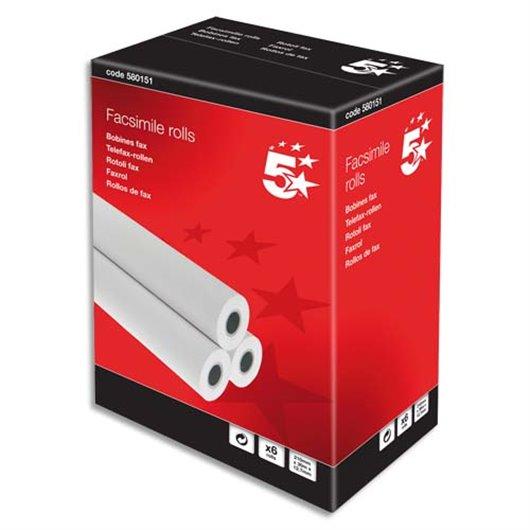 Bobine télécopieur 210 x 12.7mm. 30 mètres. papier thermique 1 pli