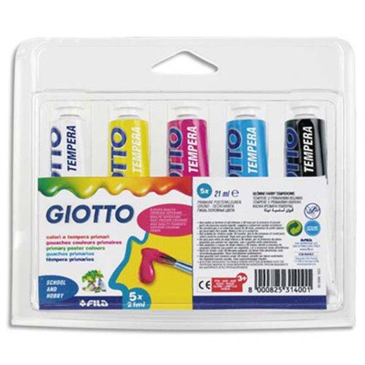 Blister de 5 tubes de gouache 10 ml. coloris assortis primaires