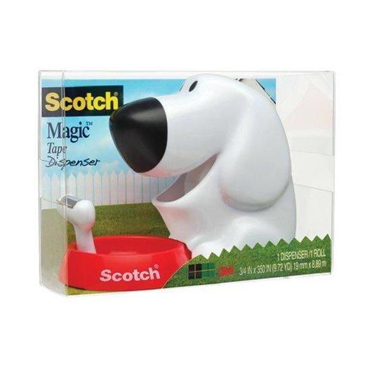 Dévidoir forme chien avec rouleau adhésif Magic 19mmx7.5m. Livré en boite transparente