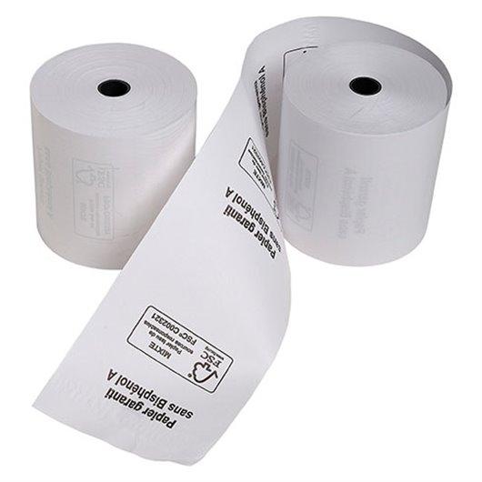 Bobine carte bancaire 57x40x12mm. 18 mètres. papier thermique 1 pli sans Bisphénol A 55g FSC