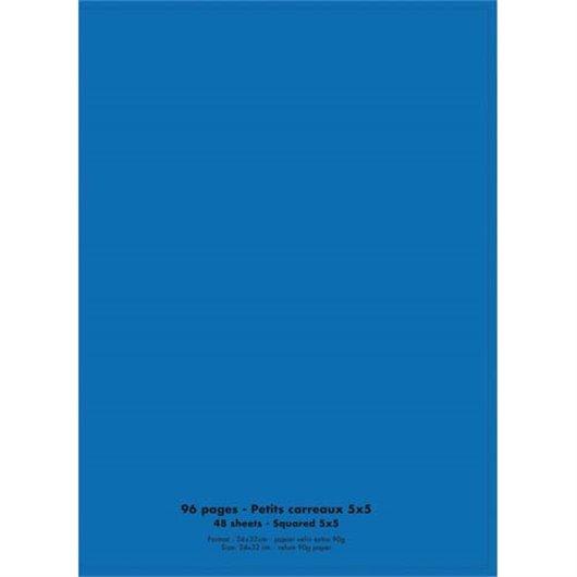 Cahier piqûre 24x32 96 pages grands carreaux 90g. Couverture polypro bleu