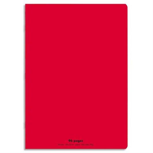 Cahier piqûre 24x32 96 pages grands carreaux 90g. Couverture polypro rouge