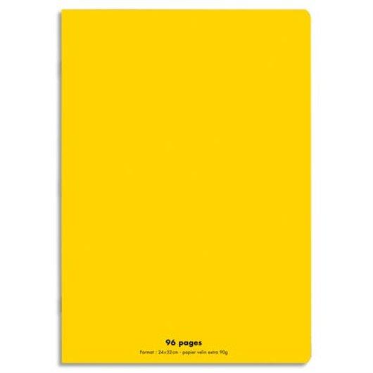 Cahier piqûre 24x32 96 pages grands carreaux 90g. Couverture polypro jaune