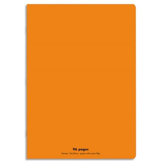 Cahier piqûre 24x32 96 pages grands carreaux 90g. Couverture polypro orange