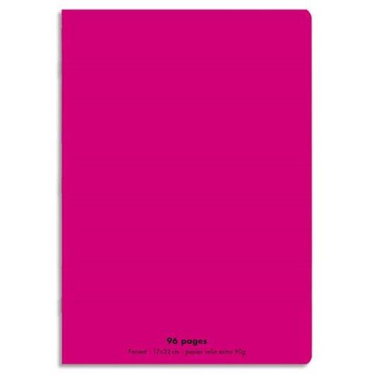 Cahier piqûre 24x32 96 pages grands carreaux 90g. Couverture polypro rose