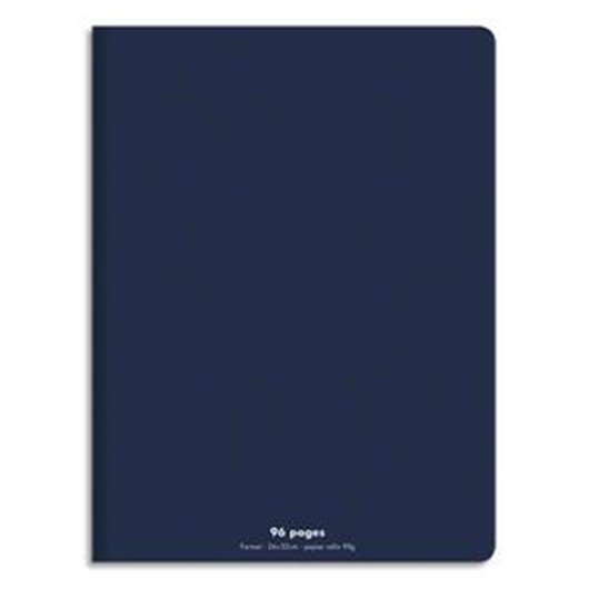 Cahier piqûre 24x32 96 pages grands carreaux 90g. Couverture polypro bleu marine