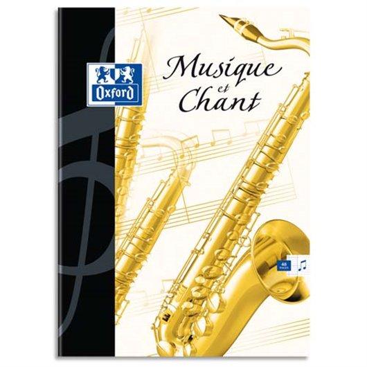 Cahier de musique 24 pages Seyès+24 pages portées 21x29.7. Couverture carte