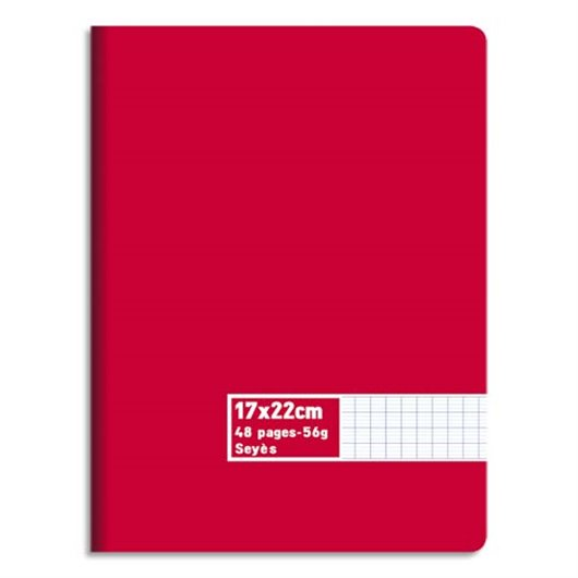 Cahier piqûre 17x22 48 pages grands carreaux 60g. Couverture carte assortie