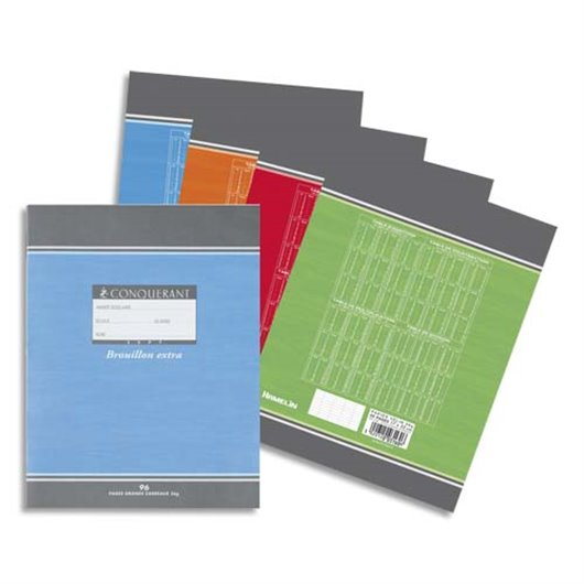 Cahier de brouillon 17x22 cm 96 pages grands carreaux papier 56g
