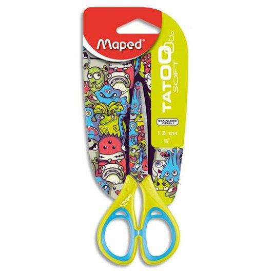 Blister ciseaux droitier ou gaucher 13cm pour enfant lame inox et décorée.