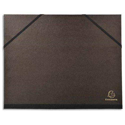 Carton à dessin avec elastiques vergé kraft noir 26x33cm noir
