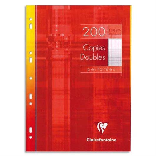 Copies doubles perforées blanches 21x29.7cm 200page grands carreaux 90g Sous étuis carton