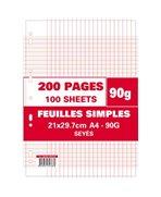 Sachet de 200 pages feuillets mobiles A4 grands carreaux 90g perforées