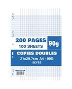 Sachet de 200 pages copies doubles A4 grands carreaux 90g perforées