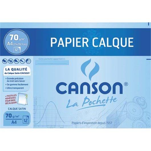 Pochette de 12 feuilles papier calque satin 70g A4 livrée avec pastilles repositionnables