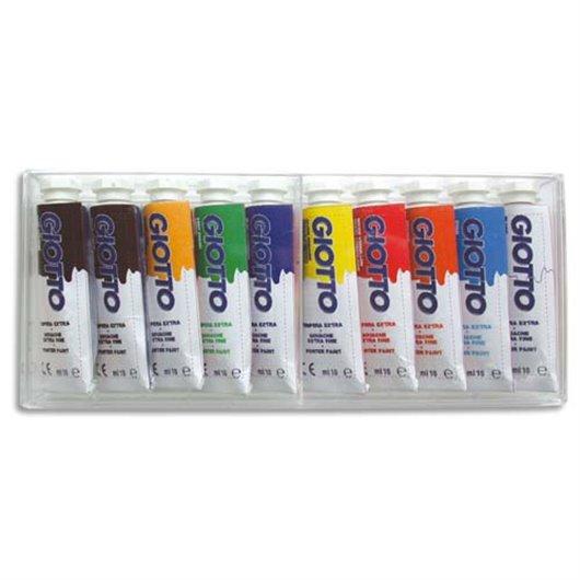 Boite rigide packebordable de 10 tubes 10ml de gouache. coloris assortis