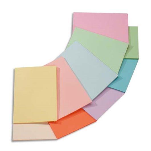 Ramette 5x100F papier couleur Trophée 80g A4 assortis pastel rose.canari.vert.bleu.saumon