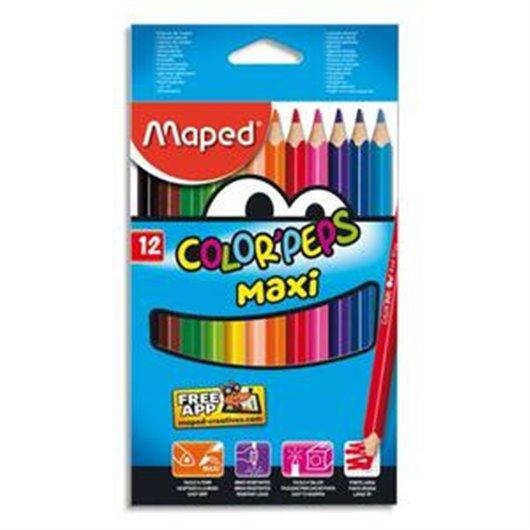 Boîte de 12 maxi crayons de couleur ColorPeps assortis. mine 4.7 mm