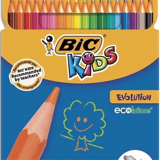 Etui carton 18 crayons de couleur EVOLUTION. Longueur 17.5cm. Coloris assortis