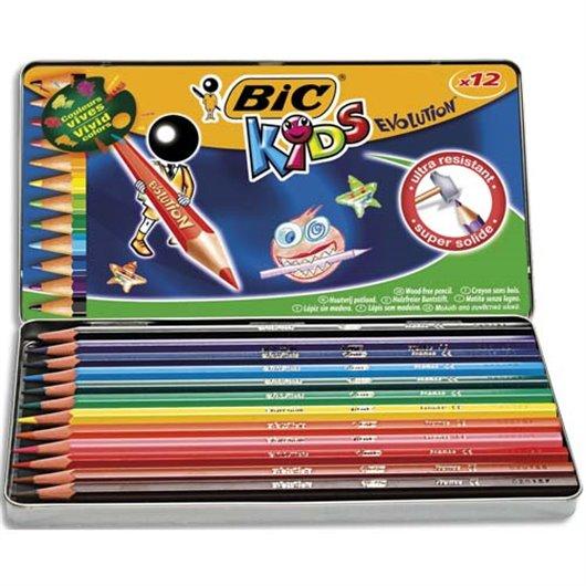 Boîte métal de 12 crayons de couleur EVOLUTION. Longueur 17.5cm. Coloris assortis