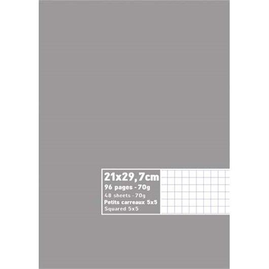 Cahier neutre 21x29.7cm 96 pages petits carreaux 70g. Couverture carte assortie