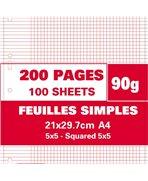 Sachet de 200 pages feuillets mobiles A4 petits carreaux 90g perforées