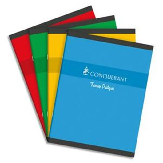 Cahier conquerant 7/ Cahier piqûre 48 pages SEYES + 48 pages dessin 70g