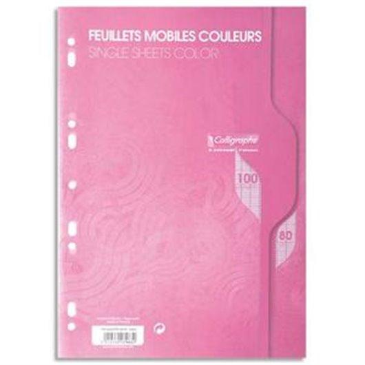 Feuillets mobiles rose perf 2trous 80g 100 pages grands carreaux format A4