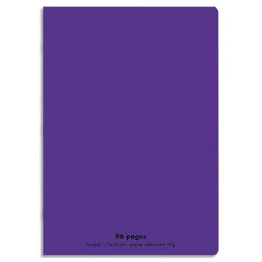Cahier 17x22cm 96 pages 90g séyès grands carreaux. Couverture polypropylène violet
