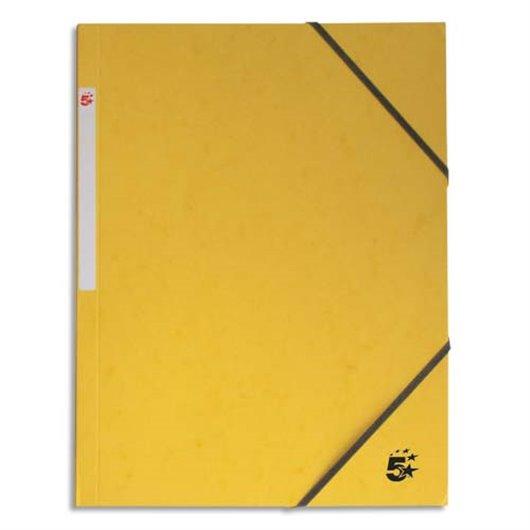 Chemise 3 rabats en carton 5/10e à élastique - Jaune