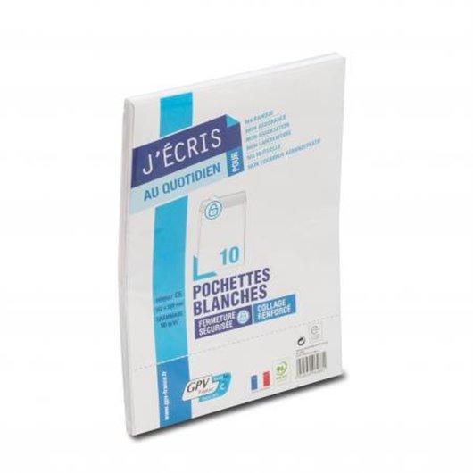 Paquet de 10 pochettes velin blanc fond gris 90g auto-adhésives 162 x 229mm