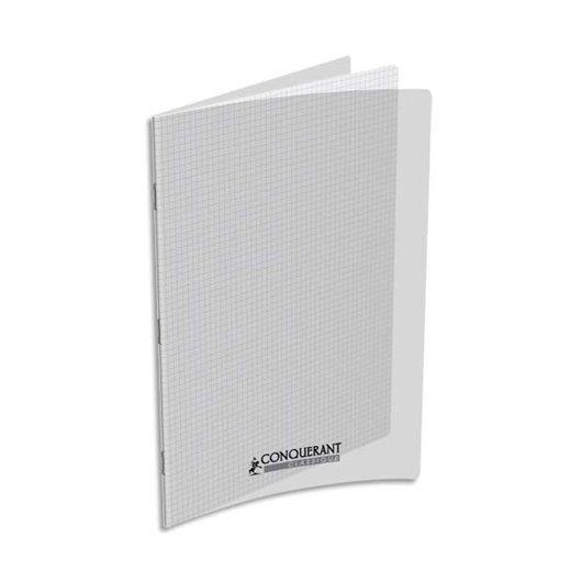 CONQUERANTC Cahier piqûre 24x32cm 96 pages 90g séyès grands carreaux. Couverture polypropylène incolore