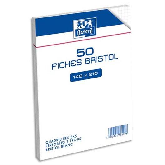 Sachet 50 fiches bristol perforées 148X210mm (A5) 5x5 blanc