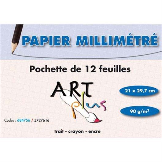 Pochette de 12 feuilles papier millimétré 90g format A4